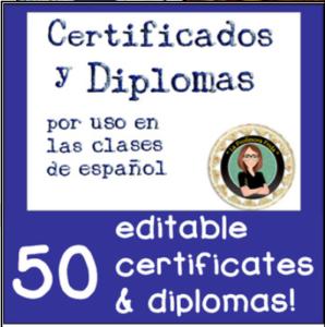 Certificados y Diplomas para la clase de Espanol