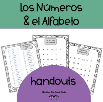 Spanish Numbers and Alphabet Handouts